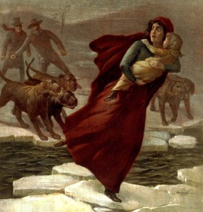 Uncle Tom's Cabin: Eliza escaping across the frozen river, chased by slavers and dogs.
